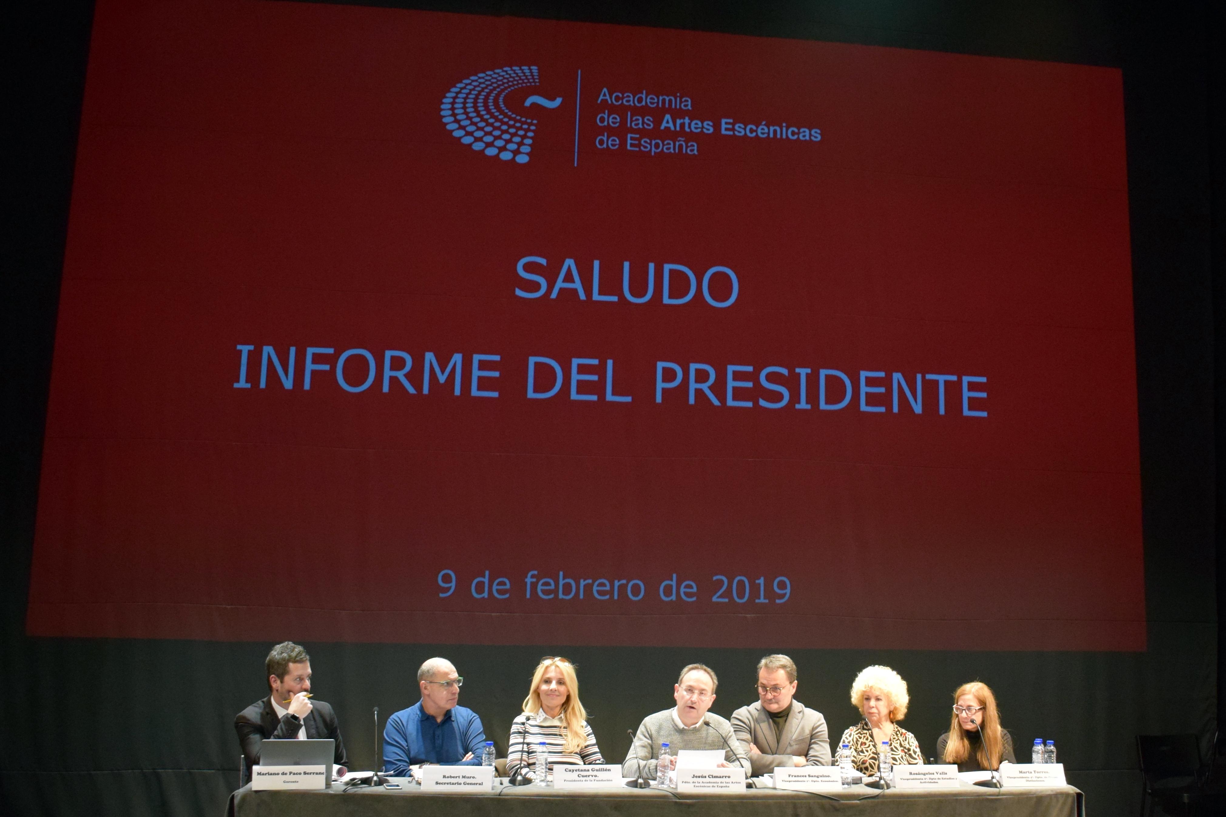 El presidente de la Academia de las Artes Escénicas de España Jesús Cimarro durante la Asamblea General de la entidad el 9 de febrero de 2019