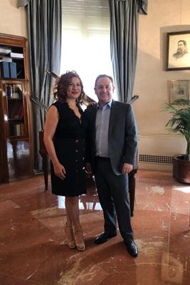 Reunion Jesus Cimarro y Pilar Jurado en mayo de 2019 en la SGAE