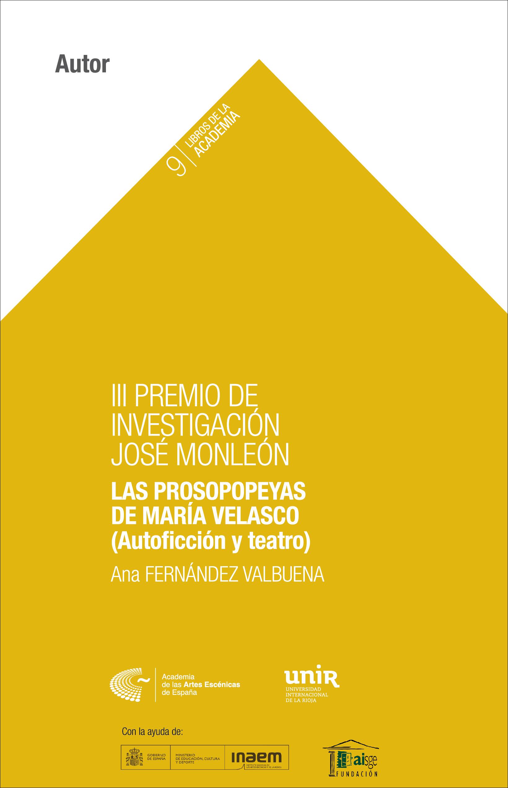 Foto de Las prosopopeyas de María Velasco (Autoficción y teatro)