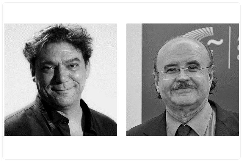 Foto de Rodolf Sirera y Antonio Onetti galardonados con el premio Gaudí a la mejor película para televisión