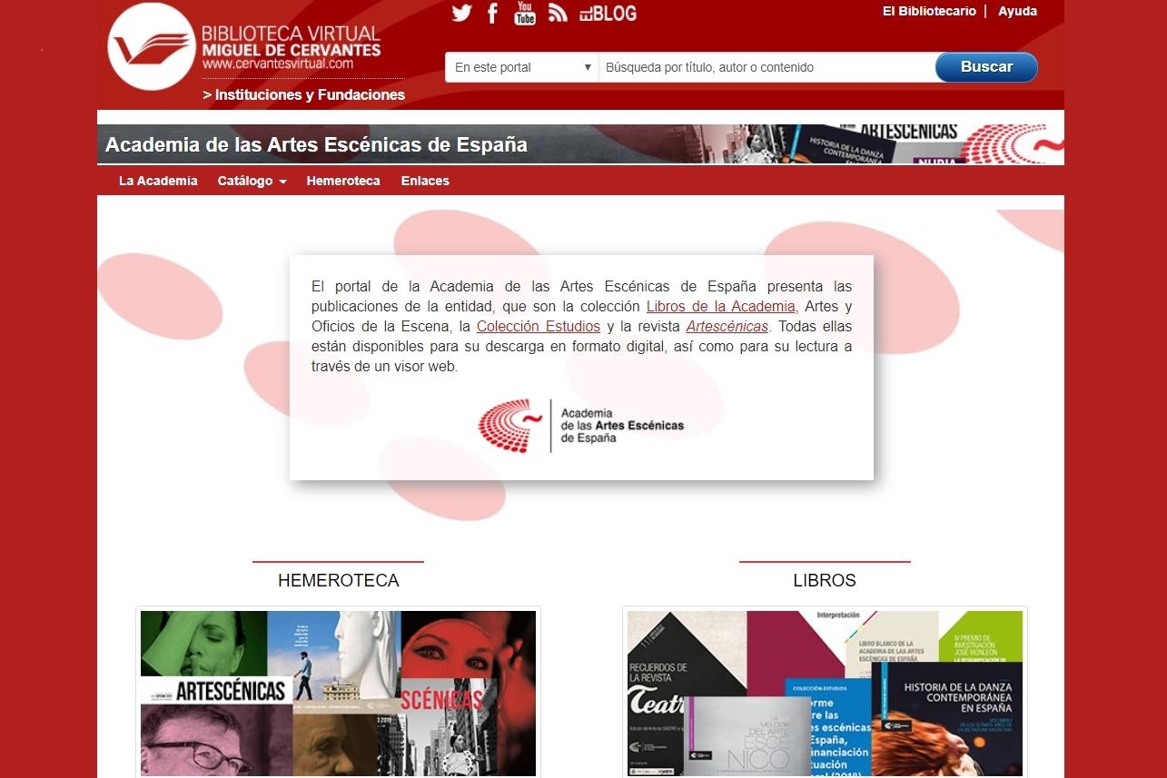 Foto de Portal de la Academia en la Biblioteca Virtual Cervantes