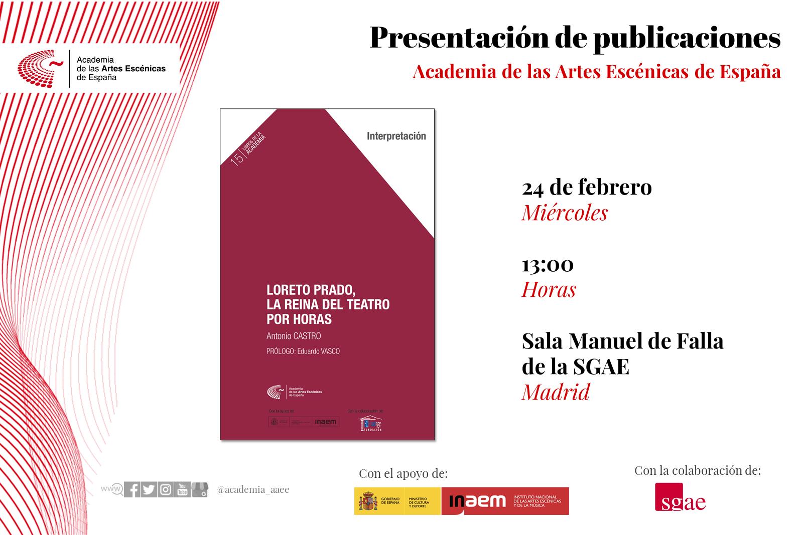 """Foto de Presentación en Madrid de """"Loreto Prado, la reina del teatro por horas"""""""
