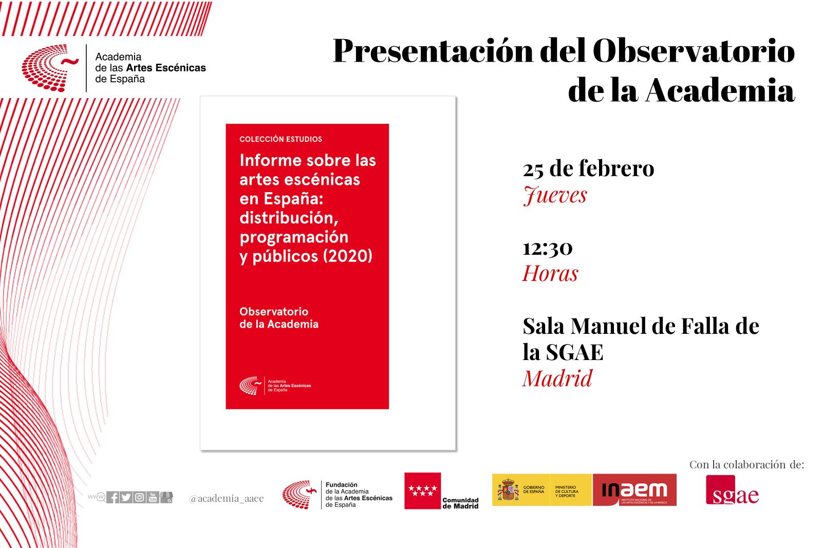 Foto de La Academia presenta en Madrid el Informe sobre las artes escénicas en España: distribución, programación y públicos (2020)