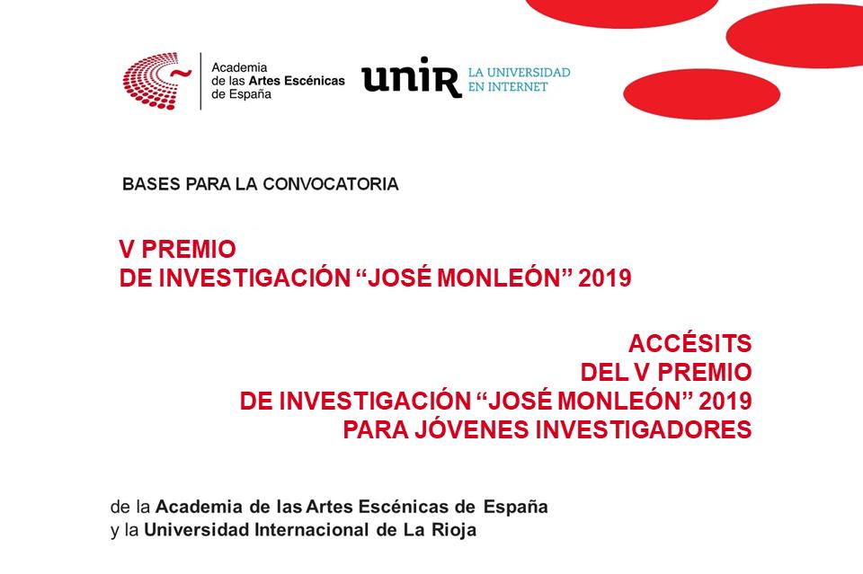"""Foto de V Premio de Investigación """"José Monleón"""" Academia-UNIR y Accésits para jóvenes investigadores 2019"""