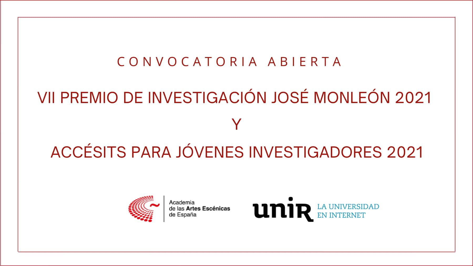 """Foto de Bases del VII Premio de Investigación """"José Monleón"""" Academia-UNIR y Accésits para Jóvenes Investigadores"""