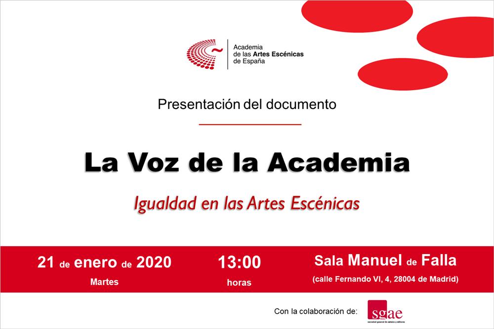 """Foto de Presentación de """"La Voz de la Academia: Igualdad en las Artes Escénicas"""""""