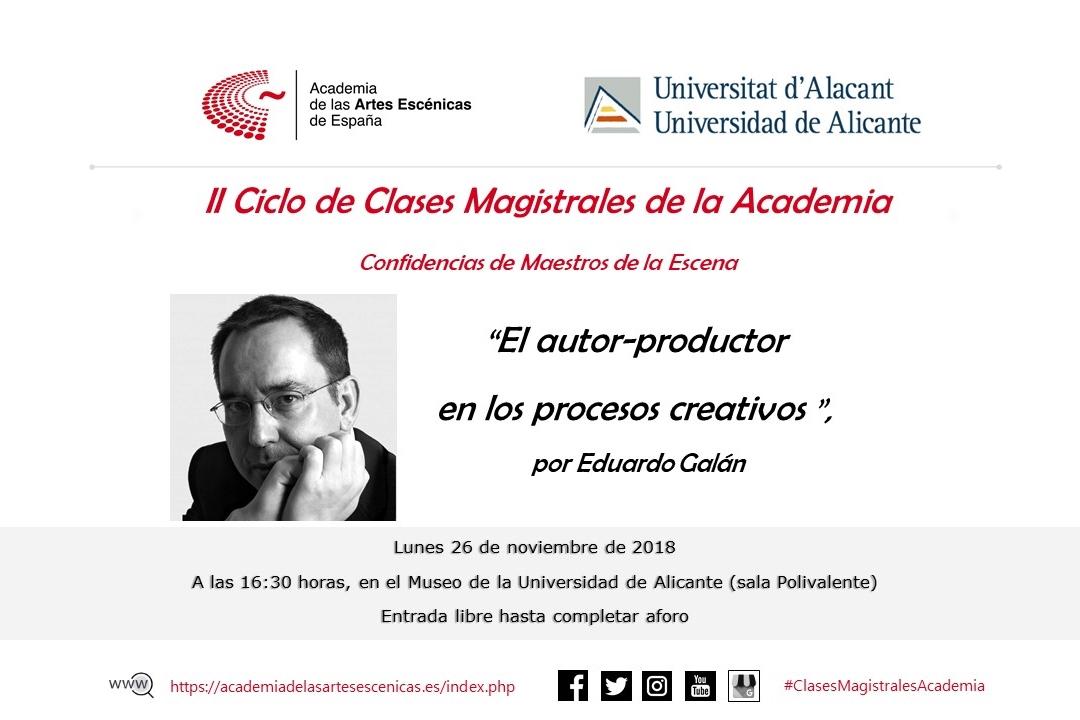"""Foto de Tercer invitado del II Ciclo de Clases Magistrales de la Academia """"Confidencias de maestros de la escena"""""""