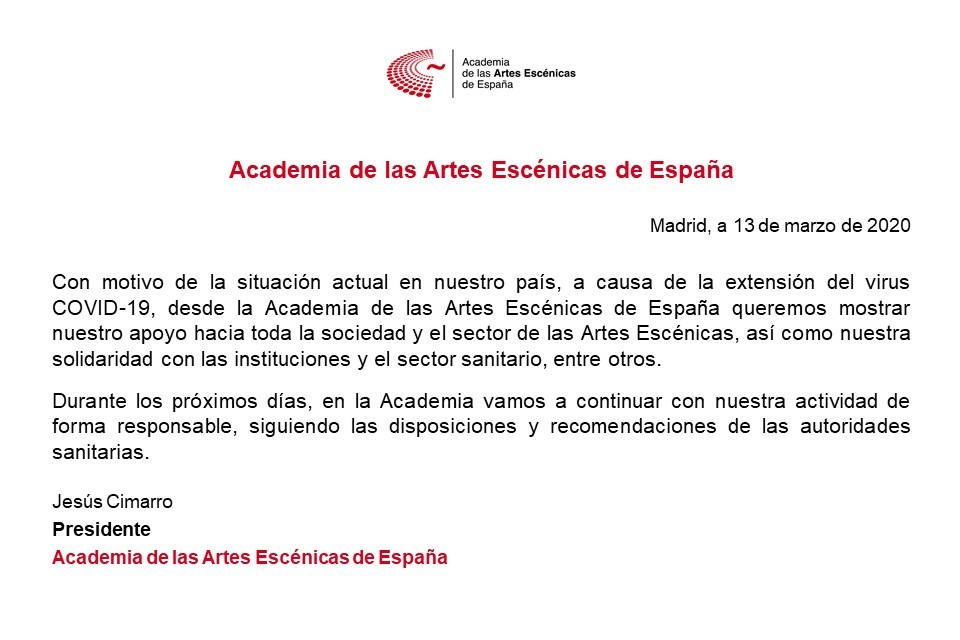 Foto de Comunicado de la Academia de las Artes Escénicas de España