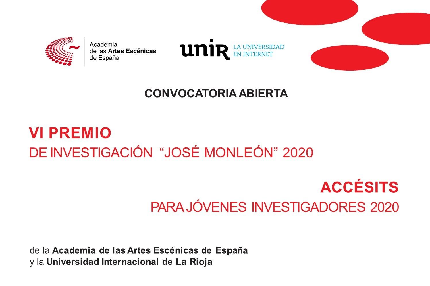 """Foto de Bases del VI Premio de Investigación """"José Monleón"""" Academia-UNIR y Accésits para Jóvenes Investigadores"""