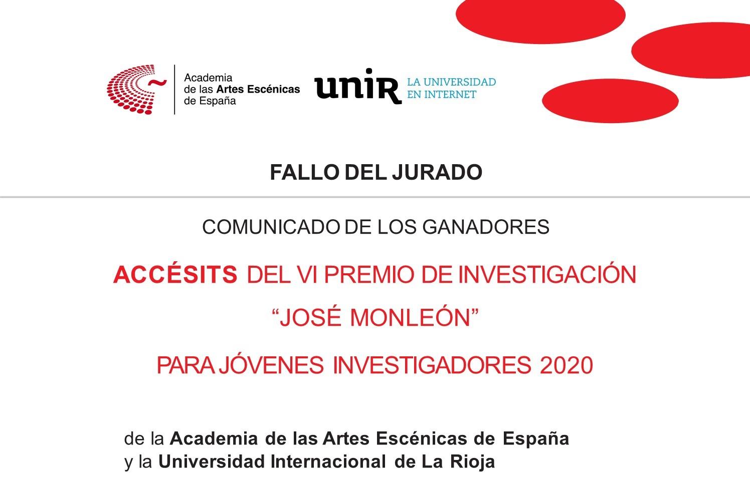 """Foto de Ganadores de los Accésits del VI Premio de Investigación """"José Monleón"""" Academia-UNIR"""