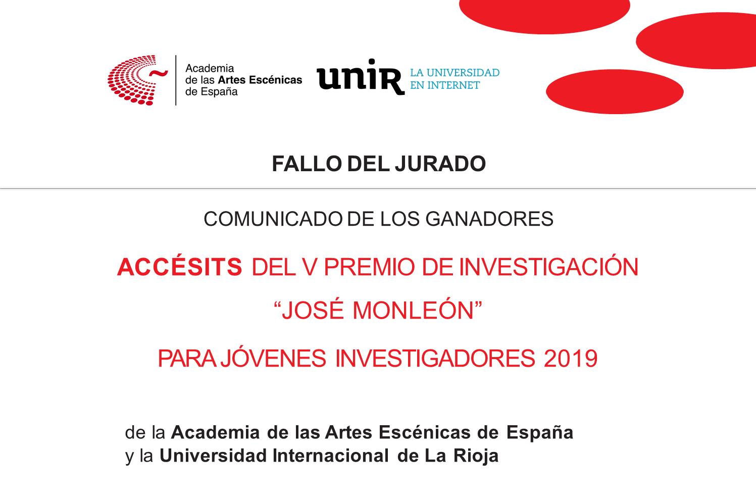 """Foto de Ganadores de los Accésits del V Premio de Investigación """"José Monleón"""" Academia-UNIR"""