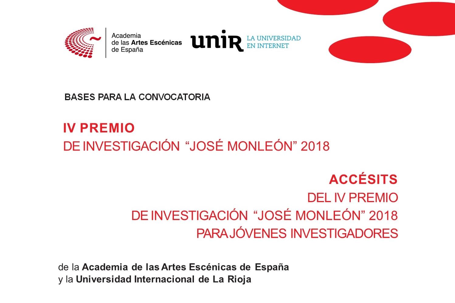 """Foto de Convocado el IV Premio de Investigación """"José Monleón"""" Academia-UNIR y Accésits para jóvenes investigadores 2018"""