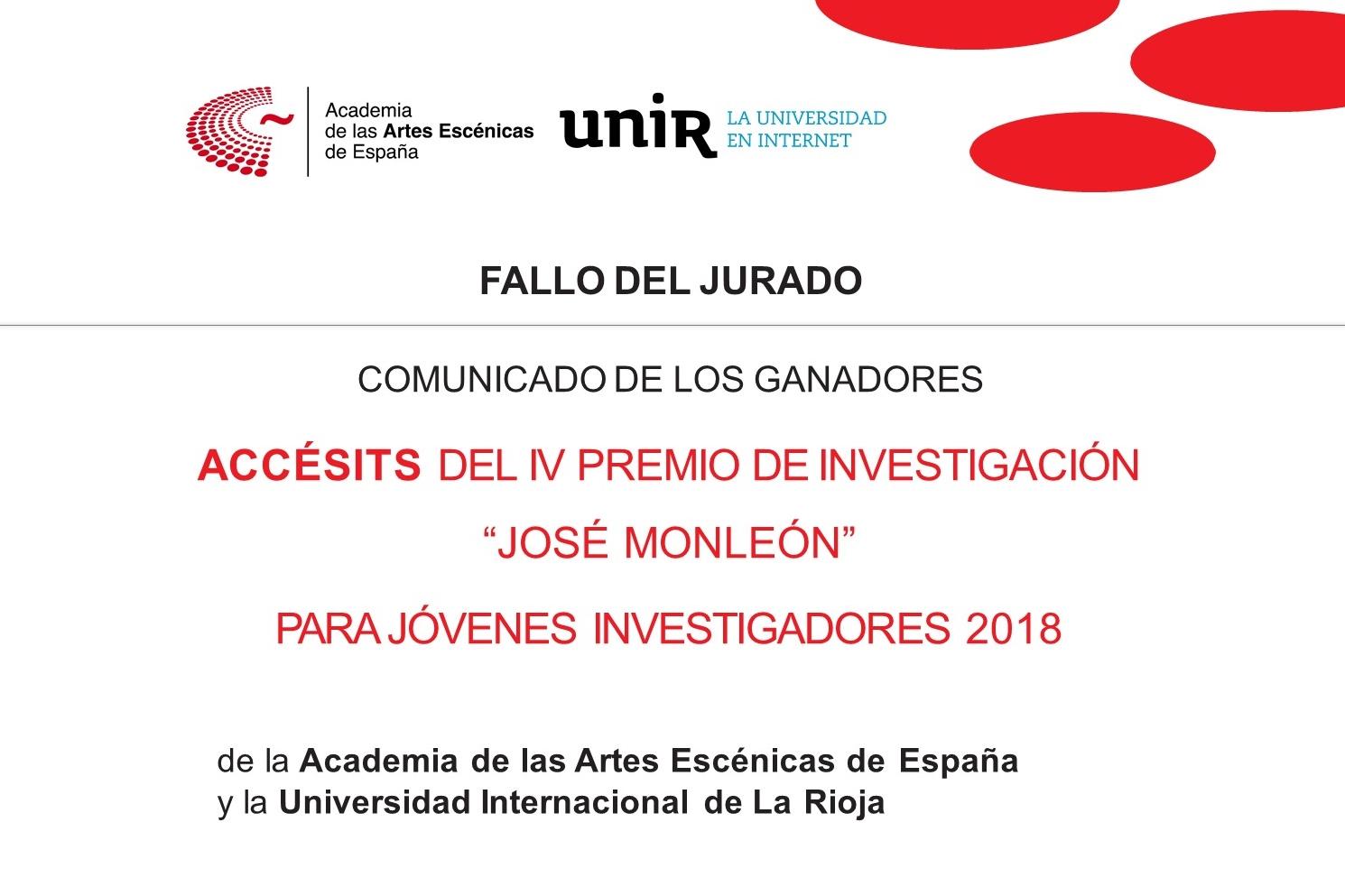 """Foto de Ganadores de los Accésits del IV Premio de Investigación """"José Monleón"""" Academia-UNIR"""
