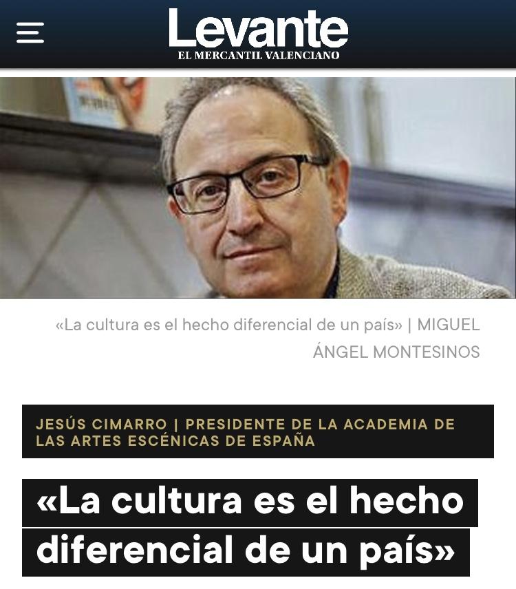 Foto de Jesús Cimarro, presidente de la academia en el periódico Levante