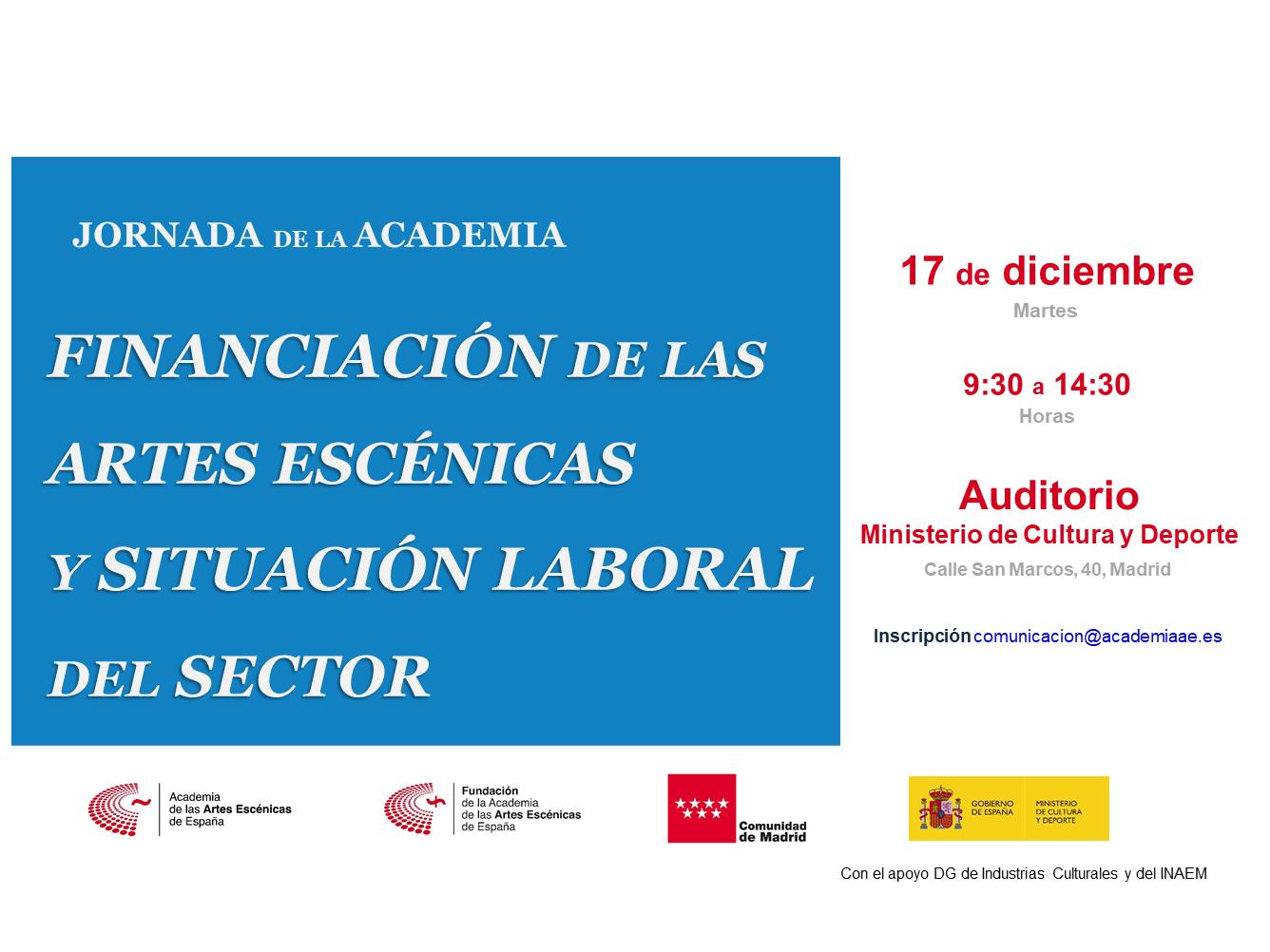 """Foto de Programa de la jornada """"Financiación de las Artes Escénicas y Situación Laboral del sector"""""""