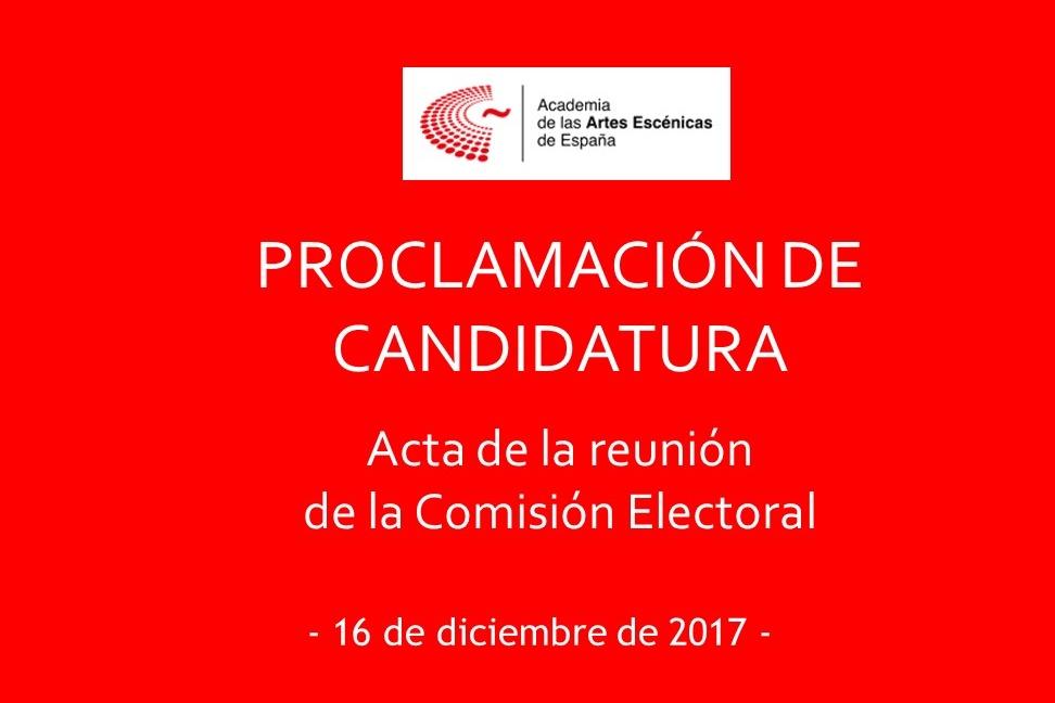 Foto de Acta de la reunión de la Comisión Electoral del 16 de diciembre de 2017