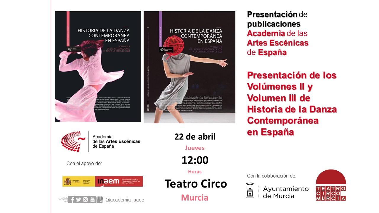 """Foto de Presentación de ''Historia de la danza contemporánea en España"""" Volúmenes II y III en Murcia"""