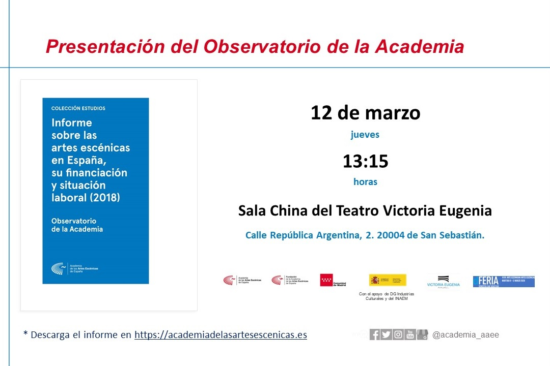 Foto de Presentación de los resultados del País Vasco, referentes al Informe sobre las artes escénicas en España, su financiación y situación laboral