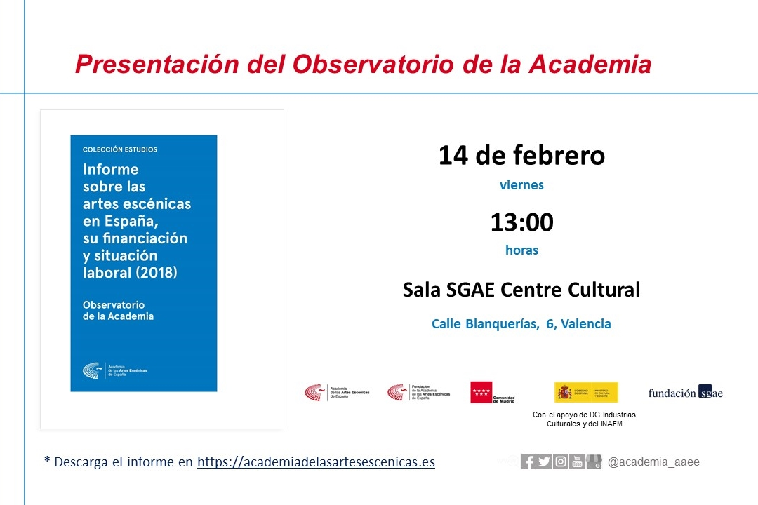 Foto de Presentación de los resultados de la Comunidad Valenciana, referentes al Informe sobre las artes escénicas en España, su financiación y situación laboral