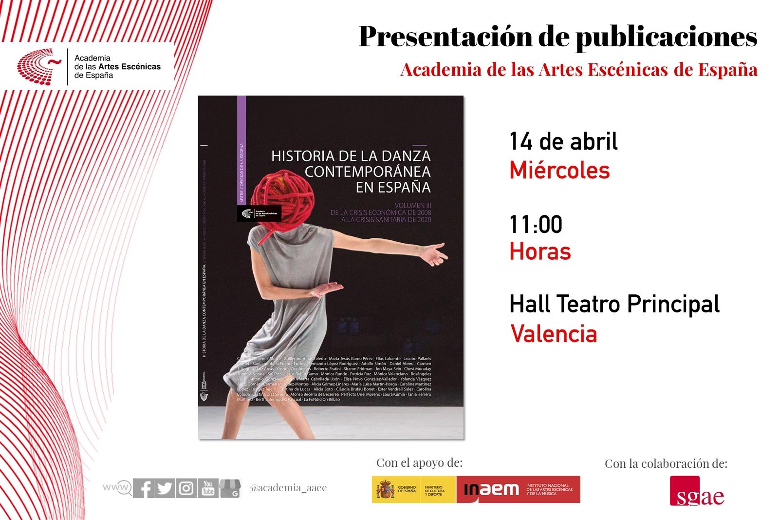 """Foto de La Academia presenta en Valencia """"Historia de la danza contemporánea en España ( vol.3)"""" de la crisis económica del 2008 a la crisis sanitaria del 2020."""