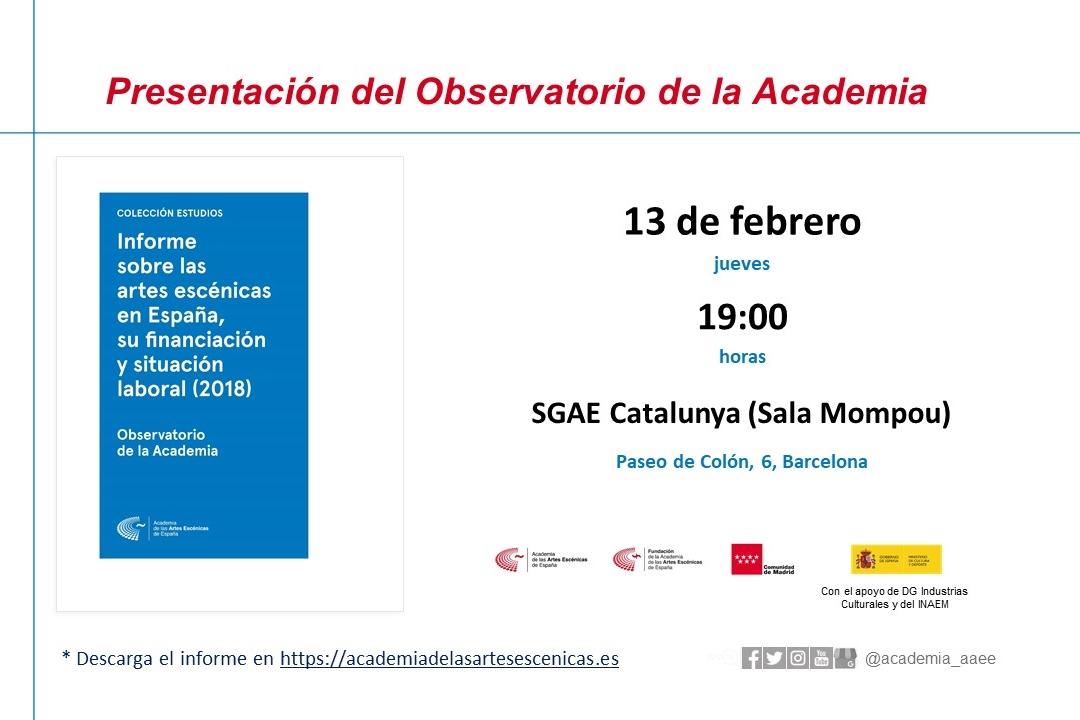 Foto de Presentación de los resultados de Cataluña, referentes al Informe sobre las artes escénicas en España, su financiación y situación laboral